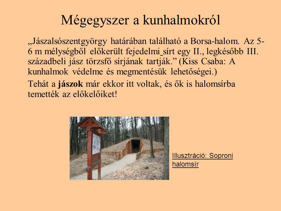 """Mégegyszer a kunhalmokról """"Jászalsószentgyörgy határában található a Borsa-halom. Az 5- 6 m mélységből előkerült fejedelmi sírt egy II., legkésőbb III"""