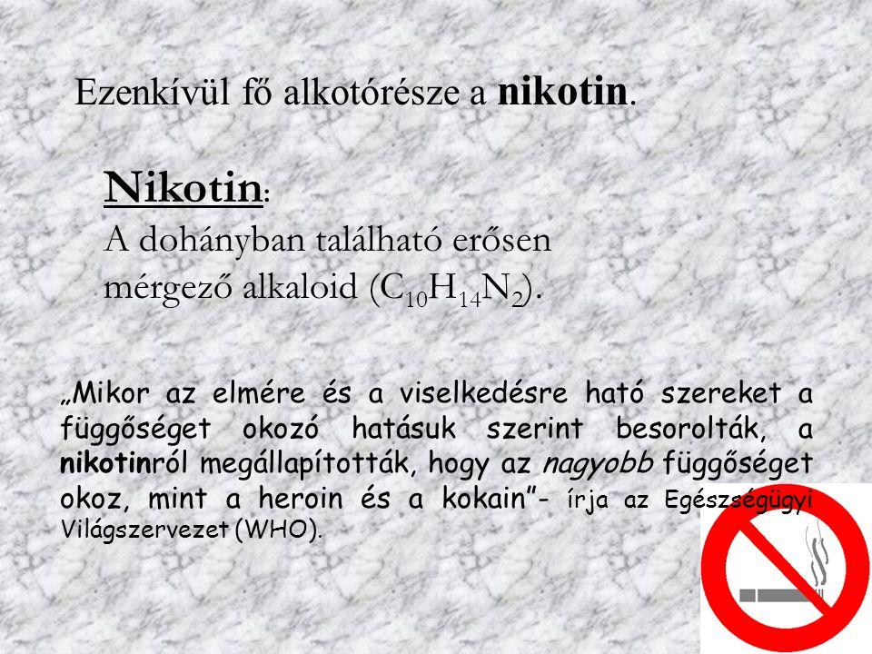 """Ezenkívül fő alkotórésze a nikotin. Nikotin : A dohányban található erősen mérgező alkaloid (C 10 H 14 N 2 ). """"Mikor az elmére és a viselkedésre ható"""