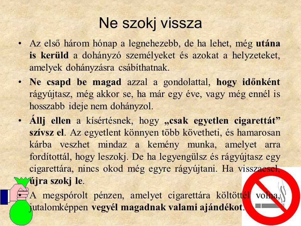 Ne szokj vissza •Az első három hónap a legnehezebb, de ha lehet, még utána is kerüld a dohányzó személyeket és azokat a helyzeteket, amelyek dohányzás
