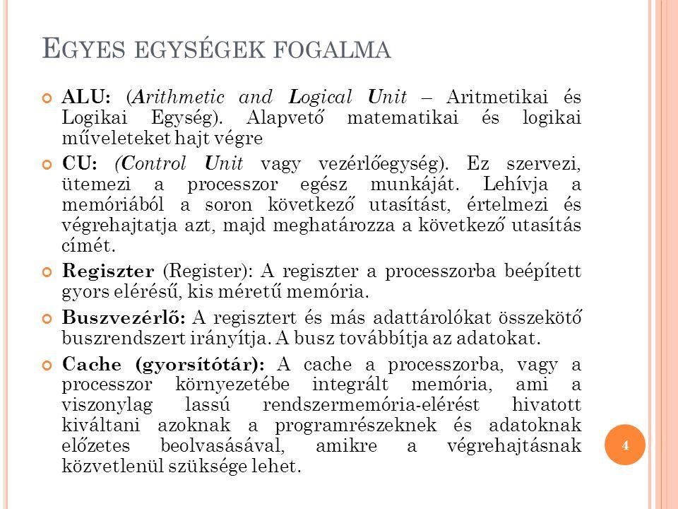 E GYES EGYSÉGEK FOGALMA ALU: ( A rithmetic and L ogical U nit – Aritmetikai és Logikai Egység).