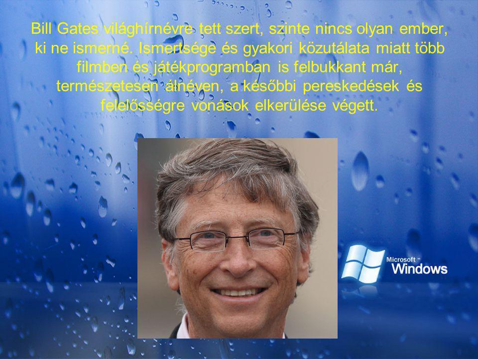 Bill Gates világhírnévre tett szert, szinte nincs olyan ember, ki ne ismerné. Ismertsége és gyakori közutálata miatt több filmben és játékprogramban i