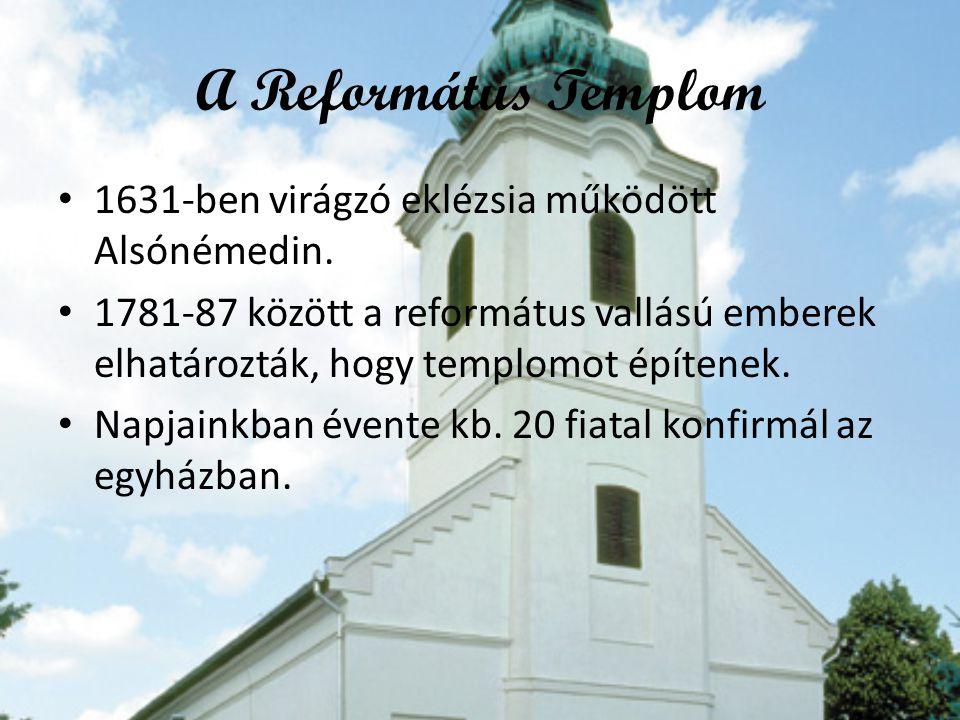 A Református Templom •1•1631-ben virágzó eklézsia működött Alsónémedin. •1•1781-87 között a református vallású emberek elhatározták, hogy templomot ép