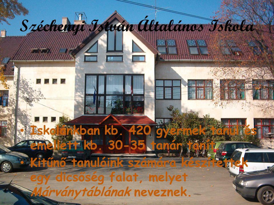 Széchenyi István Általános Iskola • Iskolánkban kb. 420 gyermek tanul és emellett kb. 30-35 tanár tanít. • Kitűnő tanulóink számára készítettek egy di