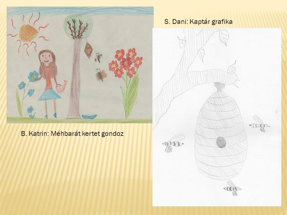 B. Katrin: Méhbarát kertet gondoz S. Dani: Kaptár grafika