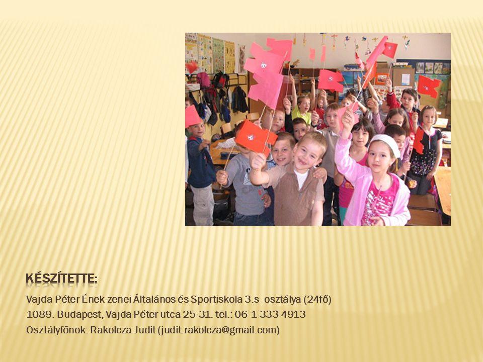 Vajda Péter Ének-zenei Általános és Sportiskola 3.s osztálya (24fő) 1089. Budapest, Vajda Péter utca 25-31. tel.: 06-1-333-4913 Osztályfőnök: Rakolcza