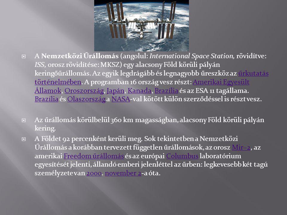  A Nemzetközi Űrállomás (angolul: International Space Station, rövidítve: ISS, orosz rövidítése: MKSZ) egy alacsony Föld körüli pályán keringőűrállom