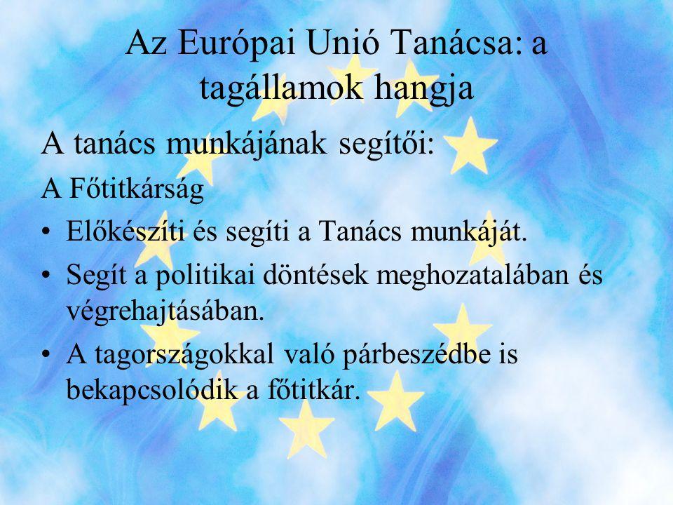Az Európai Unió Tanácsa: a tagállamok hangja A tanács munkájának segítői: A Főtitkárság •Előkészíti és segíti a Tanács munkáját.