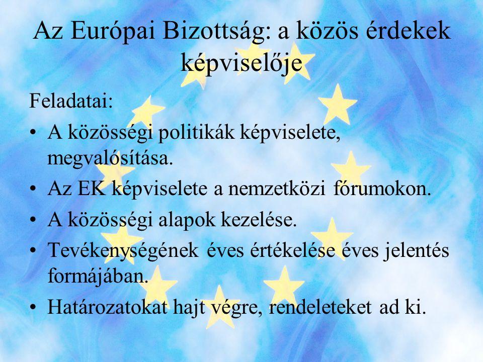 Az Európai Bizottság: a közös érdekek képviselője Feladatai: •A közösségi politikák képviselete, megvalósítása.