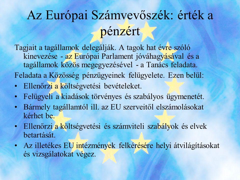 Az Európai Számvevőszék: érték a pénzért Tagjait a tagállamok delegálják.