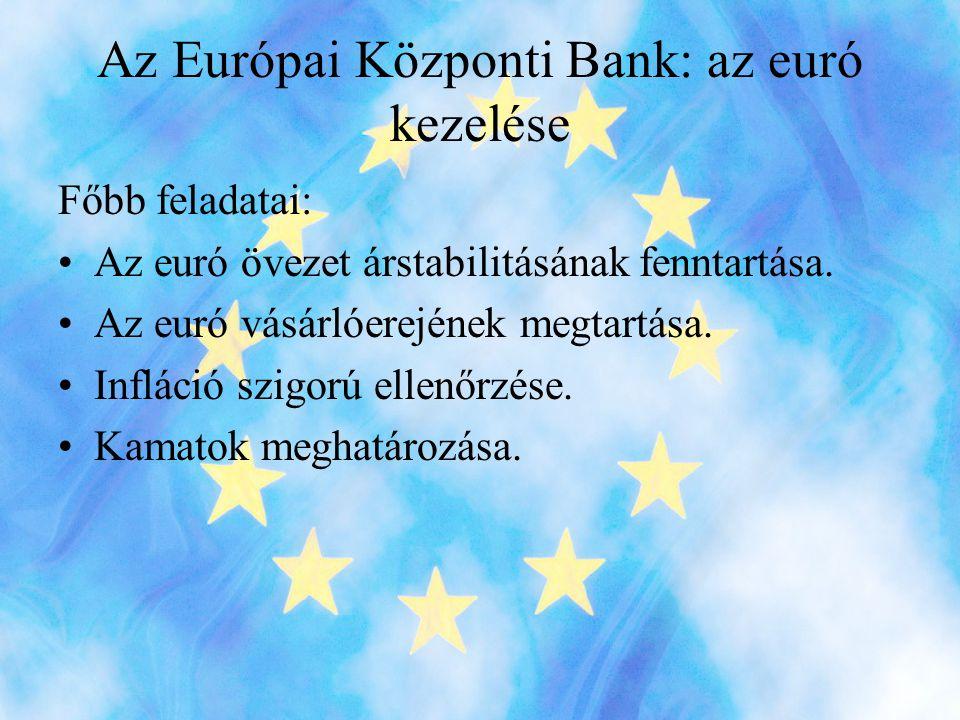 Az Európai Központi Bank: az euró kezelése Főbb feladatai: •Az euró övezet árstabilitásának fenntartása.