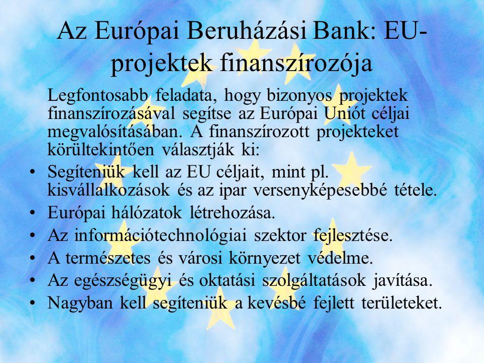 Az Európai Beruházási Bank: EU- projektek finanszírozója Legfontosabb feladata, hogy bizonyos projektek finanszírozásával segítse az Európai Uniót céljai megvalósításában.