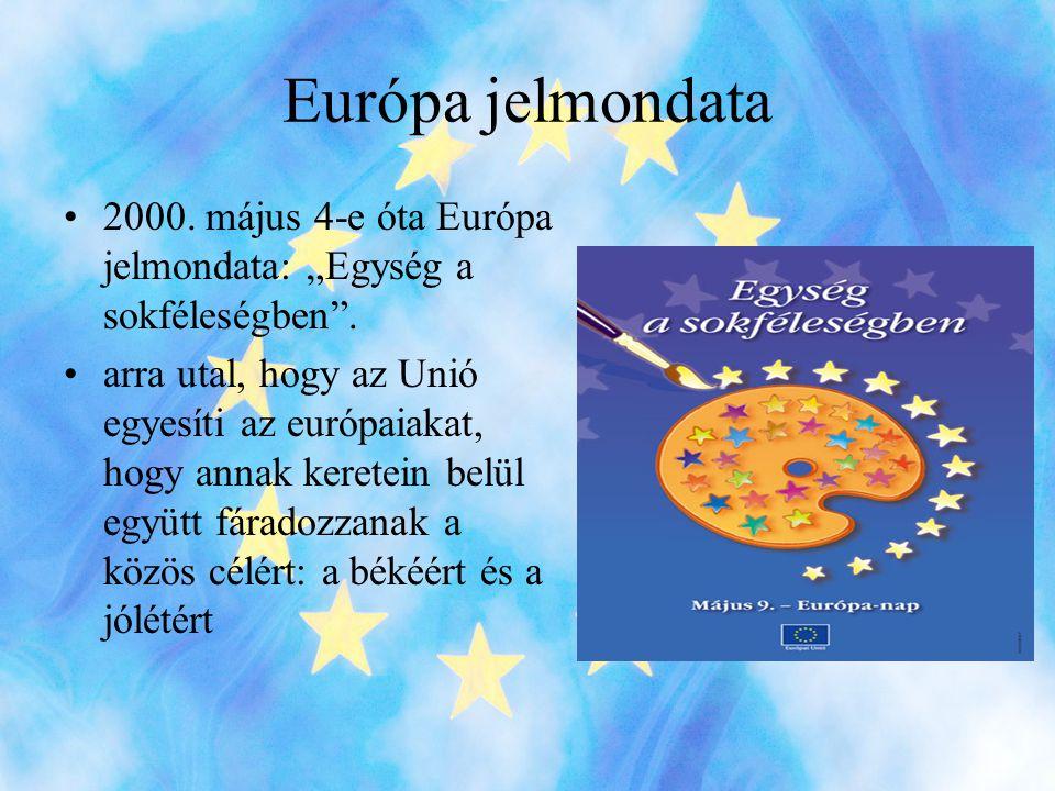 """Európa jelmondata •2000.május 4-e óta Európa jelmondata: """"Egység a sokféleségben ."""