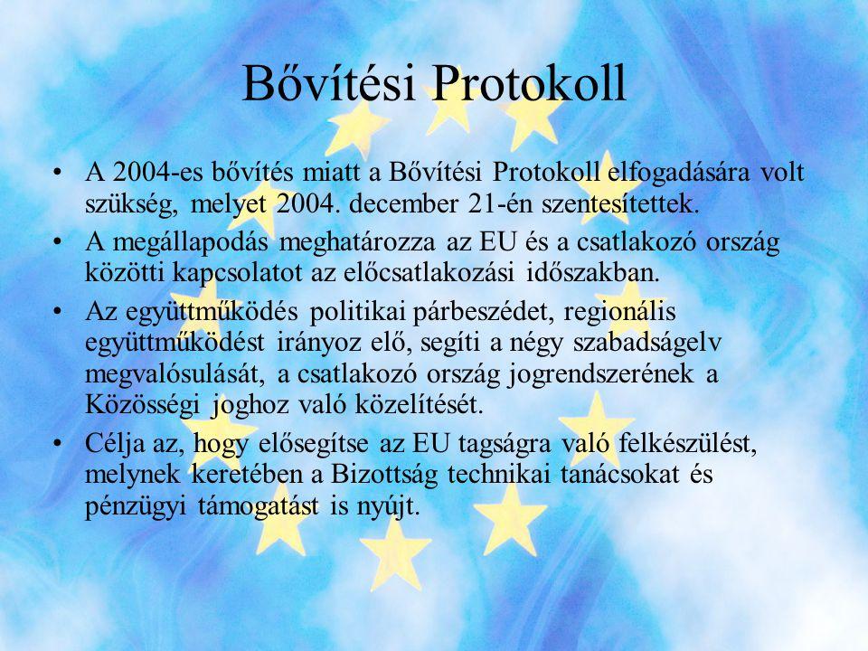 Bővítési Protokoll •A 2004-es bővítés miatt a Bővítési Protokoll elfogadására volt szükség, melyet 2004.