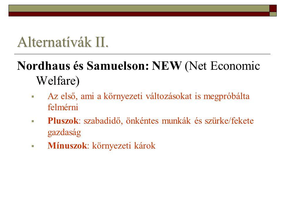 Alternatívák II. Nordhaus és Samuelson: NEW (Net Economic Welfare)  Az első, ami a környezeti változásokat is megpróbálta felmérni  Pluszok: szabadi