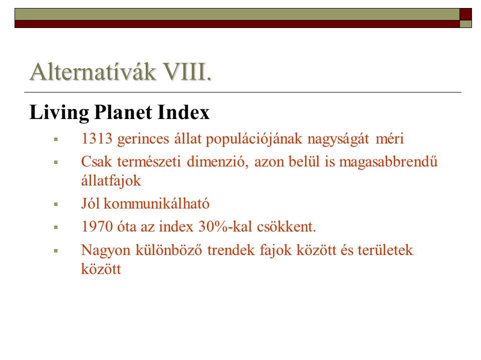 Alternatívák VIII. Living Planet Index  1313 gerinces állat populációjának nagyságát méri  Csak természeti dimenzió, azon belül is magasabbrendű áll