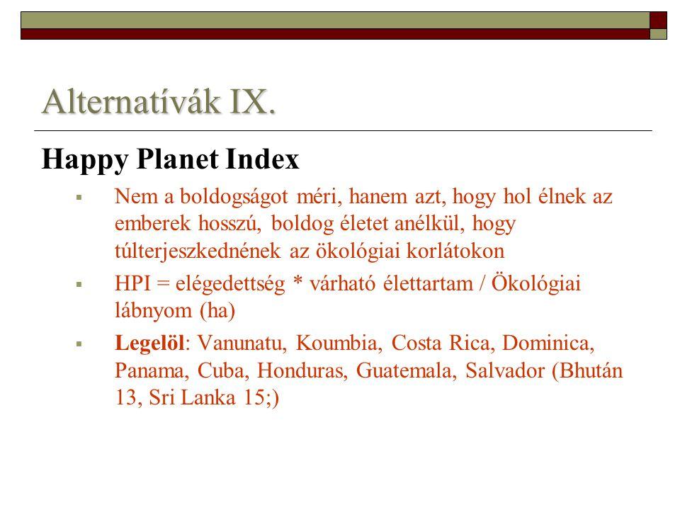 Alternatívák IX. Happy Planet Index  Nem a boldogságot méri, hanem azt, hogy hol élnek az emberek hosszú, boldog életet anélkül, hogy túlterjeszkedné