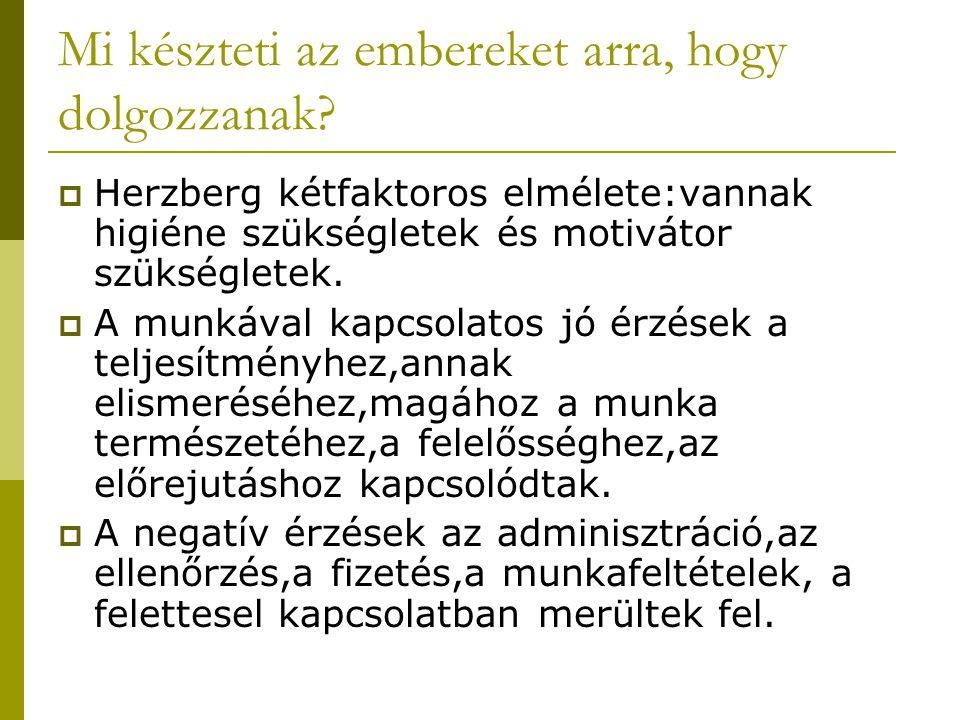 Mi készteti az embereket arra, hogy dolgozzanak?  Herzberg kétfaktoros elmélete:vannak higiéne szükségletek és motivátor szükségletek.  A munkával k