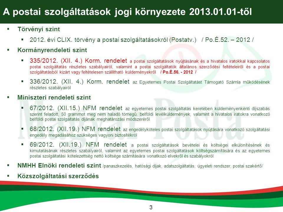 3 A postai szolgáltatások jogi környezete 2013.01.01-től  Törvényi szint  2012. évi CLIX. törvény a postai szolgáltatásokról (Postatv.) / Po.É.52. –