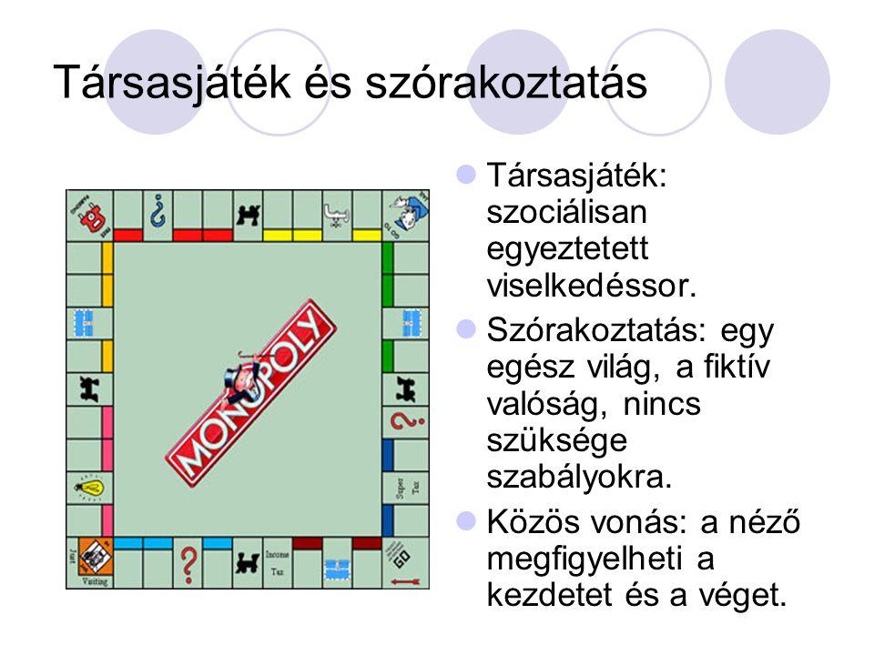 Társasjáték és szórakoztatás  Társasjáték: szociálisan egyeztetett viselkedéssor.