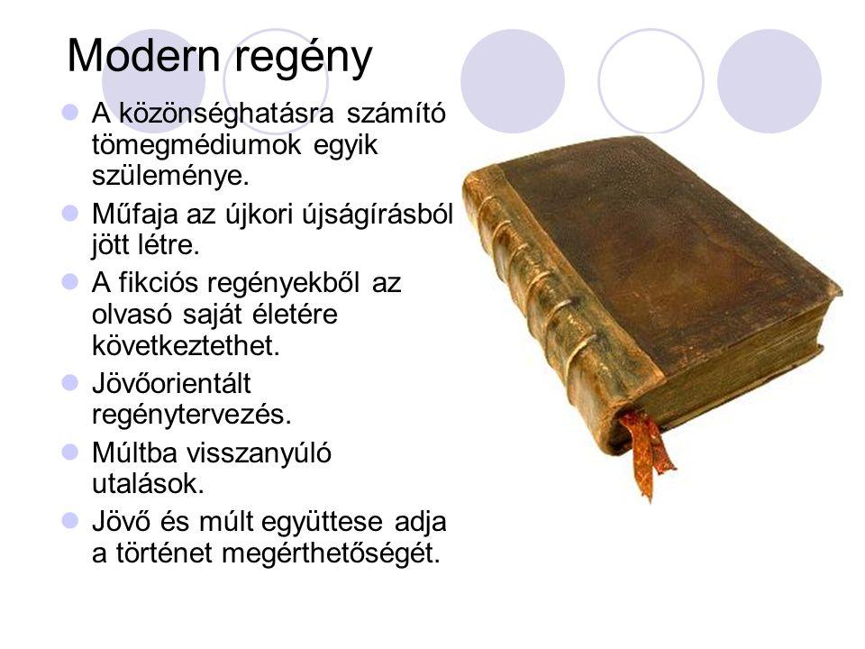 Modern regény  A közönséghatásra számító tömegmédiumok egyik szüleménye.