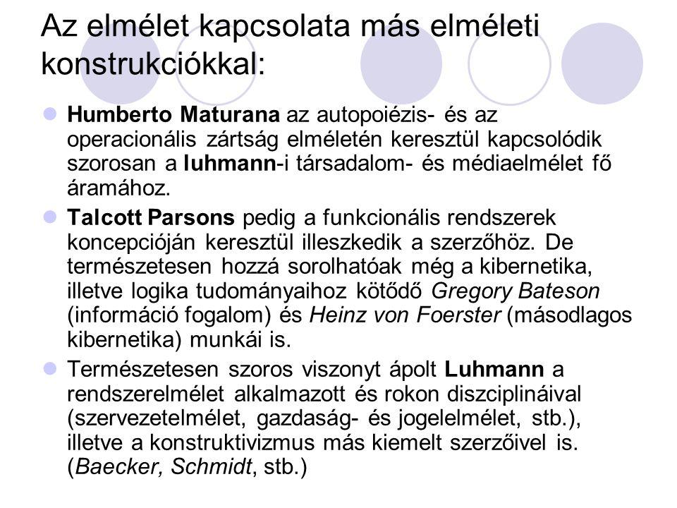 Az elmélet kapcsolata más elméleti konstrukciókkal:  Humberto Maturana az autopoiézis- és az operacionális zártság elméletén keresztül kapcsolódik szorosan a luhmann-i társadalom- és médiaelmélet fő áramához.