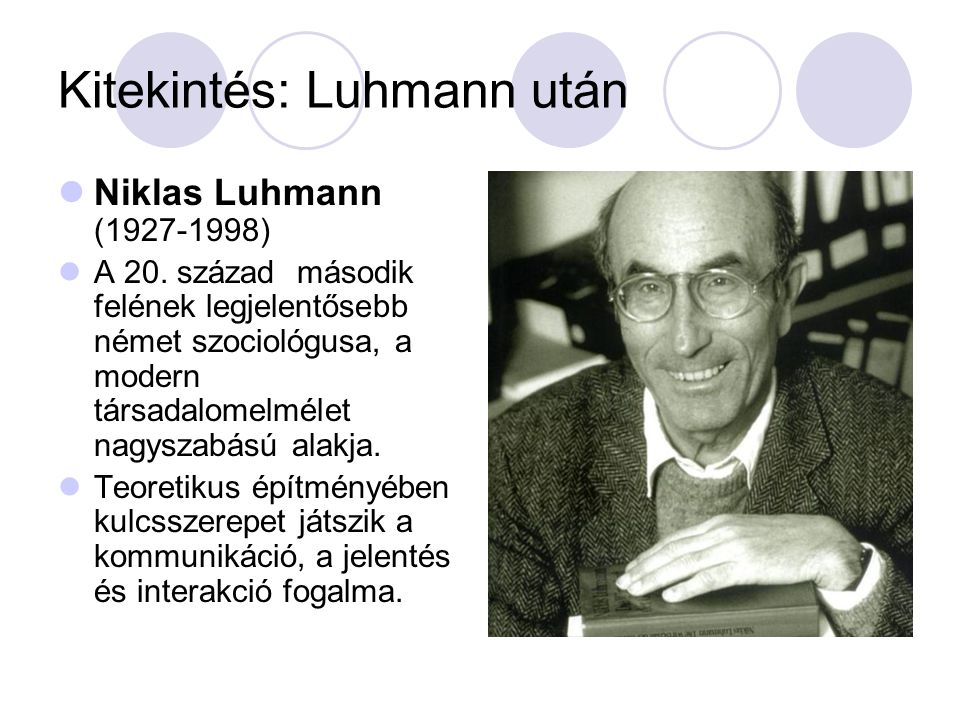 Kitekintés: Luhmann után  Niklas Luhmann (1927-1998)  A 20.
