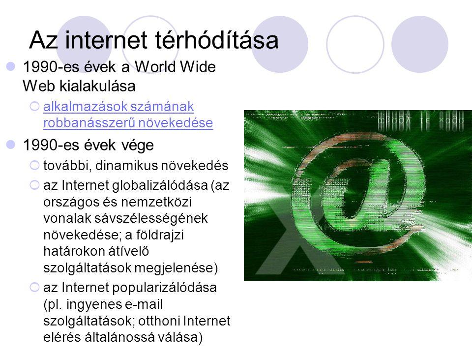 Az internet térhódítása  1990-es évek a World Wide Web kialakulása  alkalmazások számának robbanásszerű növekedése alkalmazások számának robbanásszerű növekedése  1990-es évek vége  további, dinamikus növekedés  az Internet globalizálódása (az országos és nemzetközi vonalak sávszélességének növekedése; a földrajzi határokon átívelő szolgáltatások megjelenése)  az Internet popularizálódása (pl.