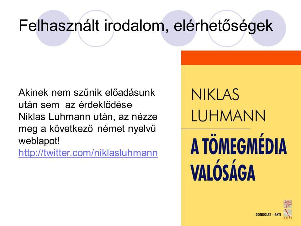 Felhasznált irodalom, elérhetőségek Akinek nem szűnik előadásunk után sem az érdeklődése Niklas Luhmann után, az nézze meg a következő német nyelvű weblapot.