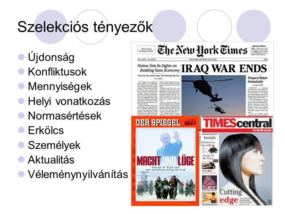 Szelekciós tényezők  Újdonság  Konfliktusok  Mennyiségek  Helyi vonatkozás  Normasértések  Erkölcs  Személyek  Aktualitás  Véleménynyilvánítás