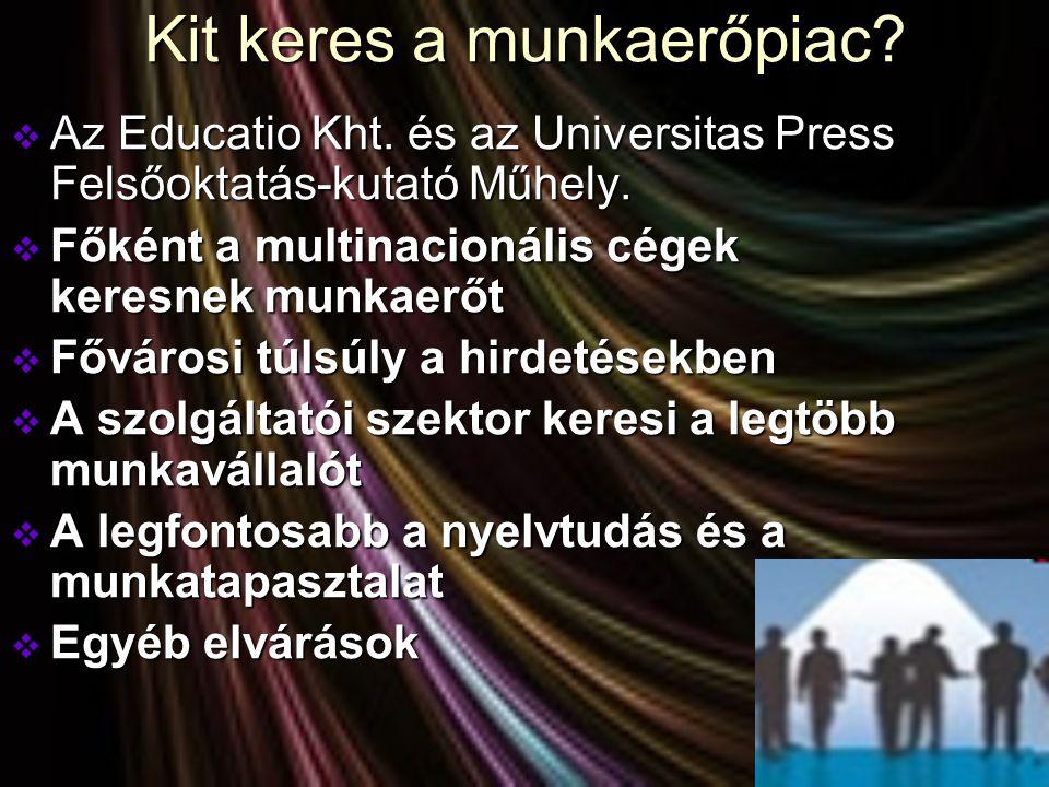 Kit keres a munkaerőpiac?  Az Educatio Kht. és az Universitas Press Felsőoktatás-kutató Műhely.  Főként a multinacionális cégek keresnek munkaerőt 