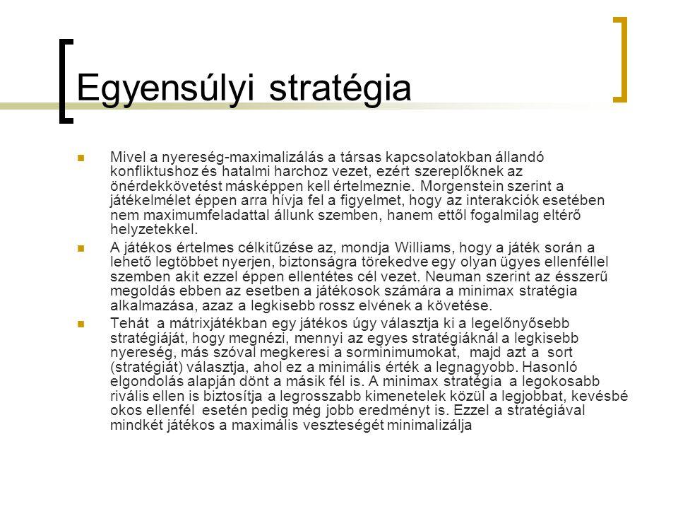 Egyensúlyi stratégia  Mivel a nyereség-maximalizálás a társas kapcsolatokban állandó konfliktushoz és hatalmi harchoz vezet, ezért szereplőknek az ö