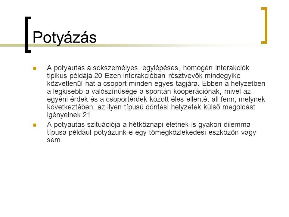 Potyázás  A potyautas a sokszemélyes, egylépéses, homogén interakciók tipikus példája.20 Ezen interakcióban résztvevők mindegyike közvetlenül hat a c
