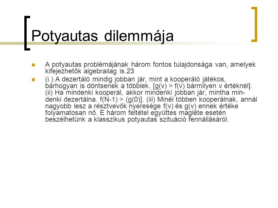 Potyautas dilemmája  A potyautas problémájának három fontos tulajdonsága van, amelyek kifejezhetők algebrailag is.23  (i.) A dezertáló mindig jobba