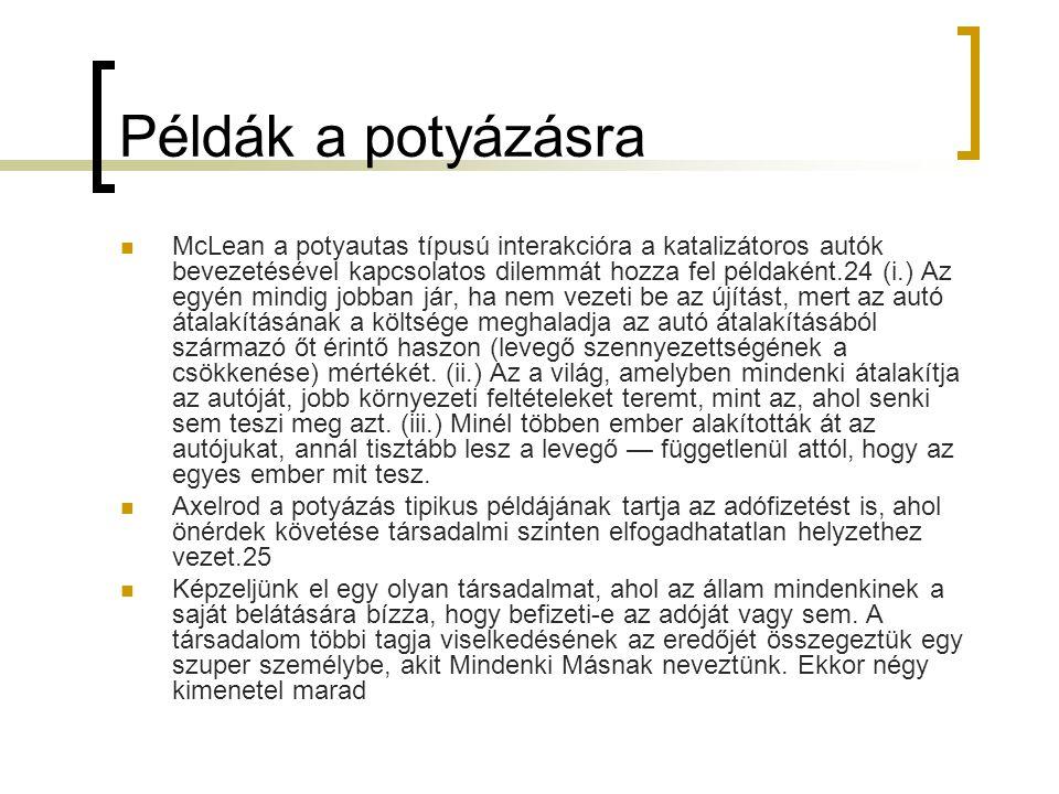 Példák a potyázásra  McLean a potyautas típusú interakcióra a katalizátoros autók bevezetésével kapcsolatos dilemmát hozza fel példaként.24 (i.) Az e