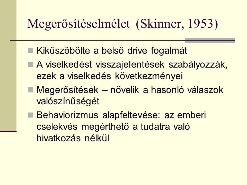 Megerősítéselmélet (Skinner, 1953)  Kiküszöbölte a belső drive fogalmát  A viselkedést visszajelentések szabályozzák, ezek a viselkedés következmény