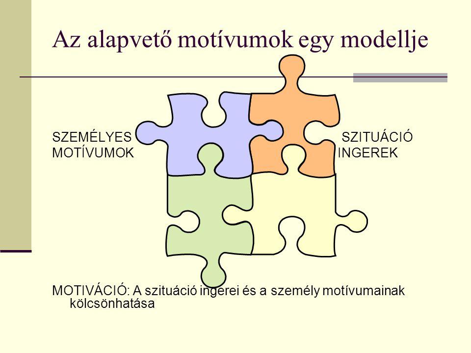 Az alapvető motívumok egy modellje SZEMÉLYES SZITUÁCIÓ MOTÍVUMOK INGEREK MOTIVÁCIÓ: A szituáció ingerei és a személy motívumainak kölcsönhatása