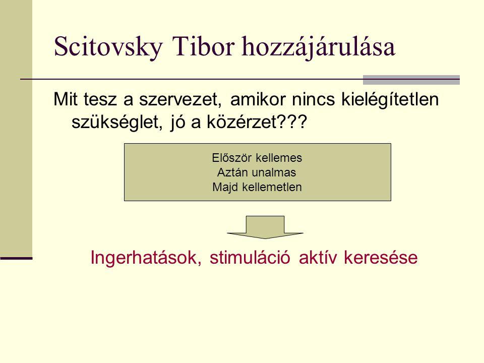 Scitovsky Tibor hozzájárulása Mit tesz a szervezet, amikor nincs kielégítetlen szükséglet, jó a közérzet??? Ingerhatások, stimuláció aktív keresése El