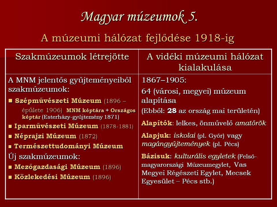 Magyar múzeumok 5. A múzeumi hálózat fejlődése 1918-ig Szakmúzeumok létrejötte A vidéki múzeumi hálózat kialakulása A MNM jelentős gyűjteményeiből sza