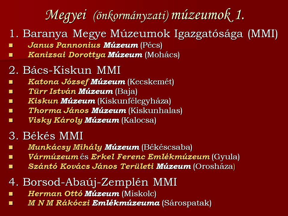 Megyei (önkormányzati) múzeumok 1. 1. Baranya Megye Múzeumok Igazgatósága (MMI)  Janus Pannonius Múzeum (Pécs)  Kanizsai Dorottya Múzeum (Mohács) 2.