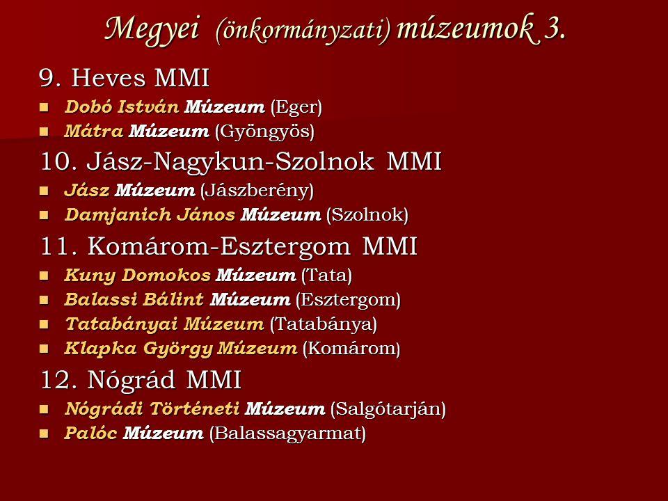 Megyei (önkormányzati) múzeumok 3. 9. Heves MMI  Dobó István Múzeum (Eger)  Mátra Múzeum (Gyöngyös) 10. Jász-Nagykun-Szolnok MMI  Jász Múzeum (Jász