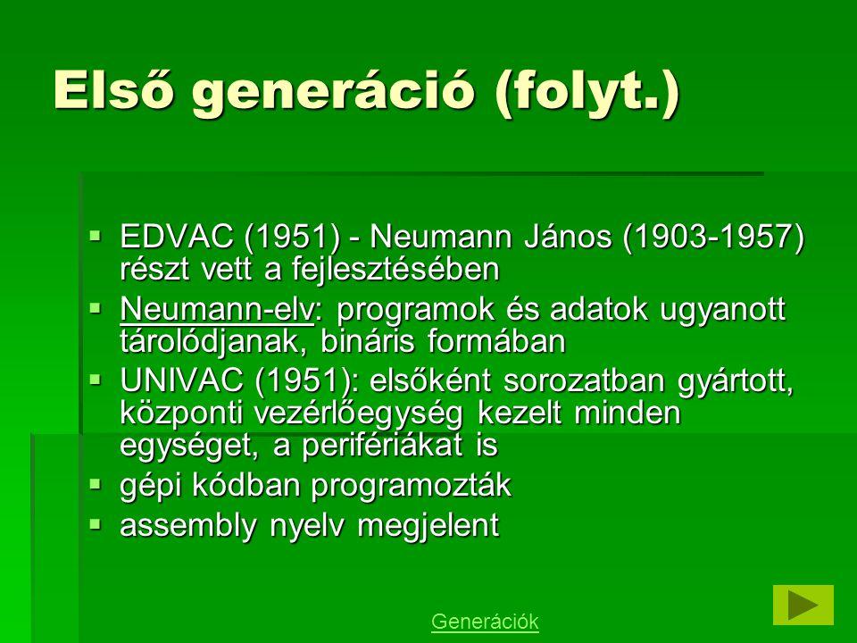 A mai számítógépek működési elvének szülőatyja a magyar származású Neumann János, aki az ENIAC építési munkálatai során csatlakozott a fejlesztőcsoporthoz.