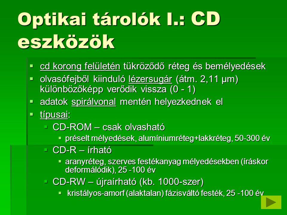 Optikai tárolók I.