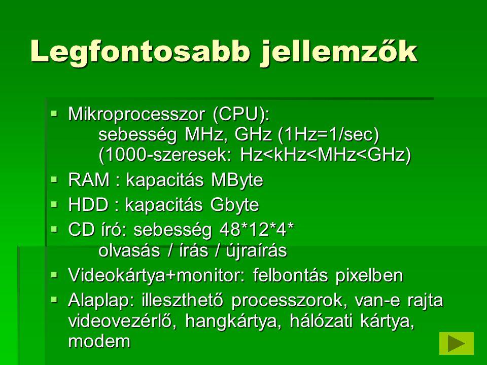 Az alaplap részei  Processzorfoglalat  Memóriafoglalat (RAM, Random Access Memory)  BIOS foglalat ( Basic Input Output System )  Sínvezérlő, megszakításvezérlő, DMA vezérlő  Billentyűzetkezelő, órajelgenerátor  Rendszeróra akkumulátorral  Bővítőhelyek ( slotok )  FDD / HDD vezérlő (controller)  S / P port (Serial, Parallel, soros, párhuzamos)  USB port (Ultra Serial Bus), stb, stb, stb