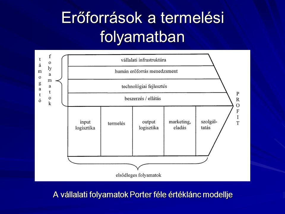 Erőforrások a termelési folyamatban A vállalati folyamatok Porter féle értéklánc modellje