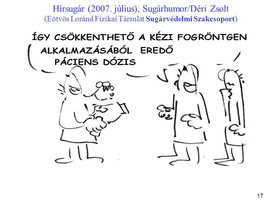 17 Hírsugár (2007. július), Sugárhumor/Déri Zsolt (Eötvös Loránd Fizikai Társulat Sugárvédelmi Szakcsoport)