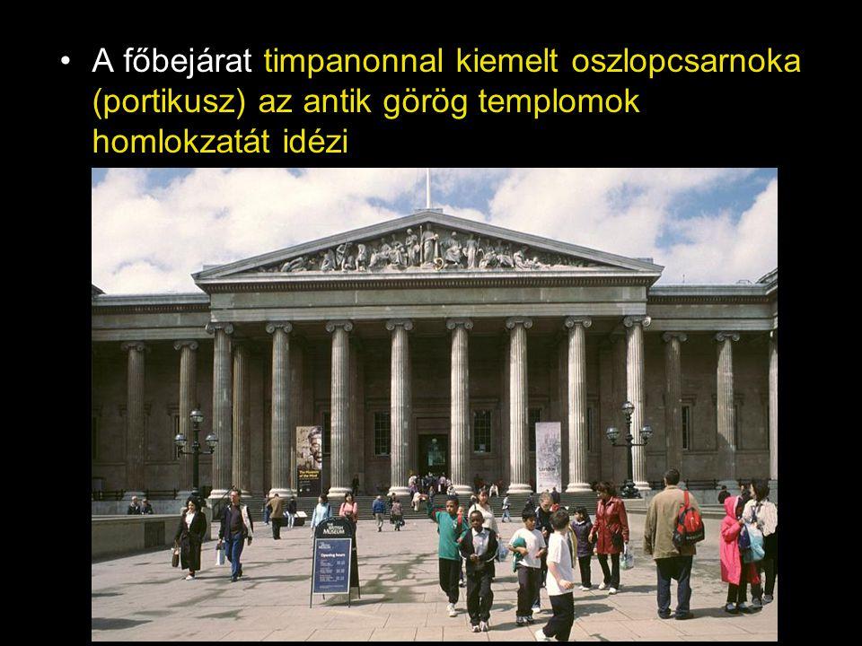 •A főbejárat timpanonnal kiemelt oszlopcsarnoka (portikusz) az antik görög templomok homlokzatát idézi