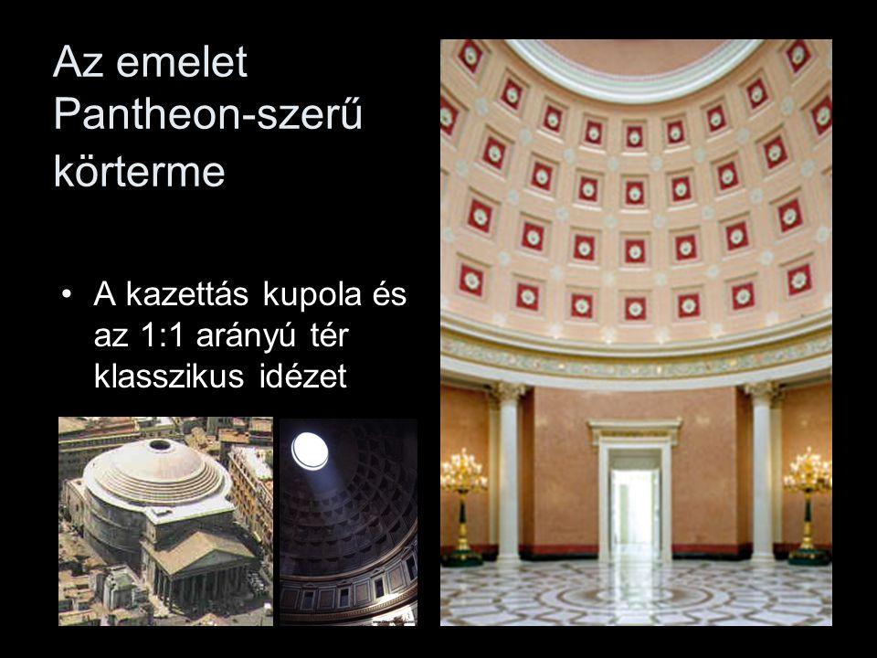 Az emelet Pantheon-szerű körterme •A kazettás kupola és az 1:1 arányú tér klasszikus idézet