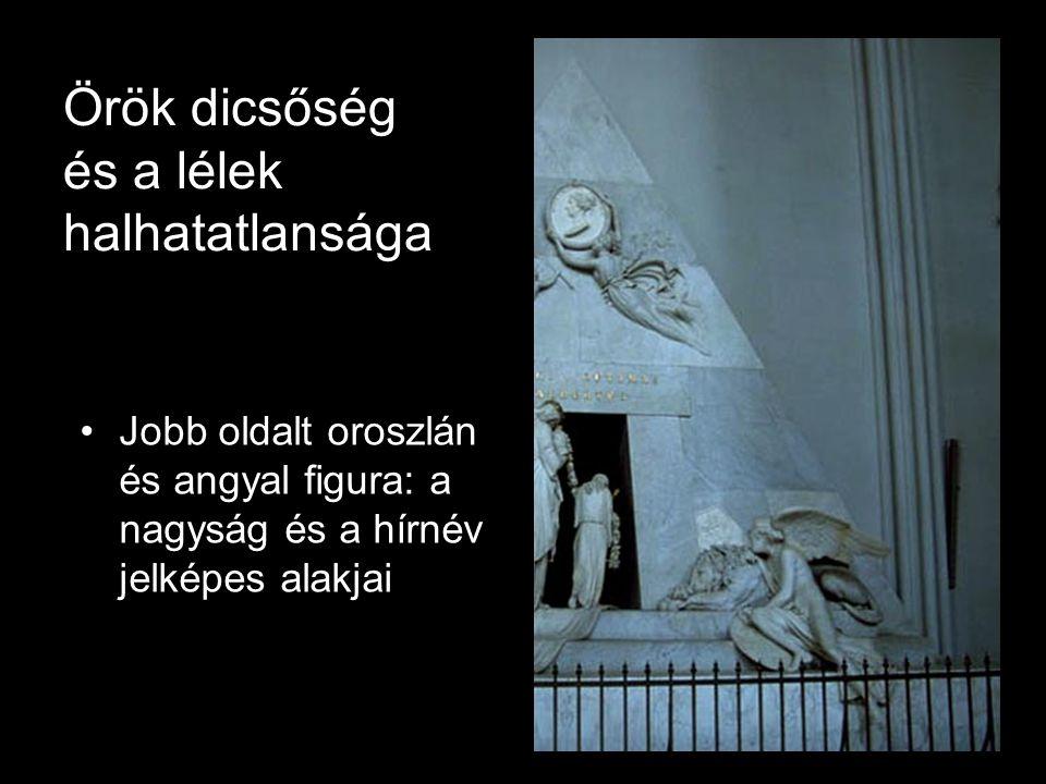 Örök dicsőség és a lélek halhatatlansága •Jobb oldalt oroszlán és angyal figura: a nagyság és a hírnév jelképes alakjai