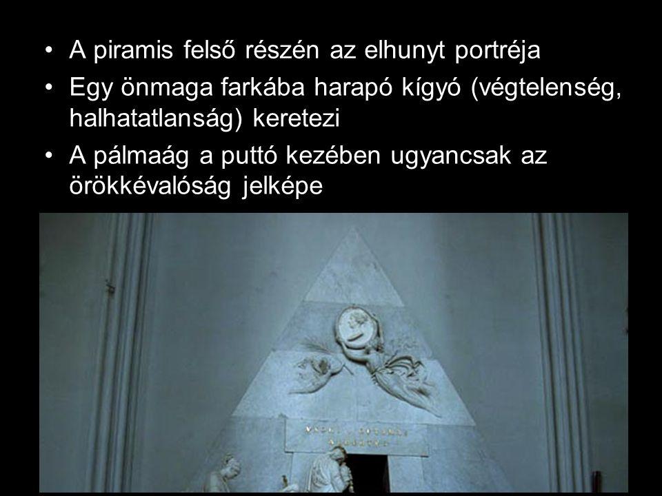 •A piramis felső részén az elhunyt portréja •Egy önmaga farkába harapó kígyó (végtelenség, halhatatlanság) keretezi •A pálmaág a puttó kezében ugyancs
