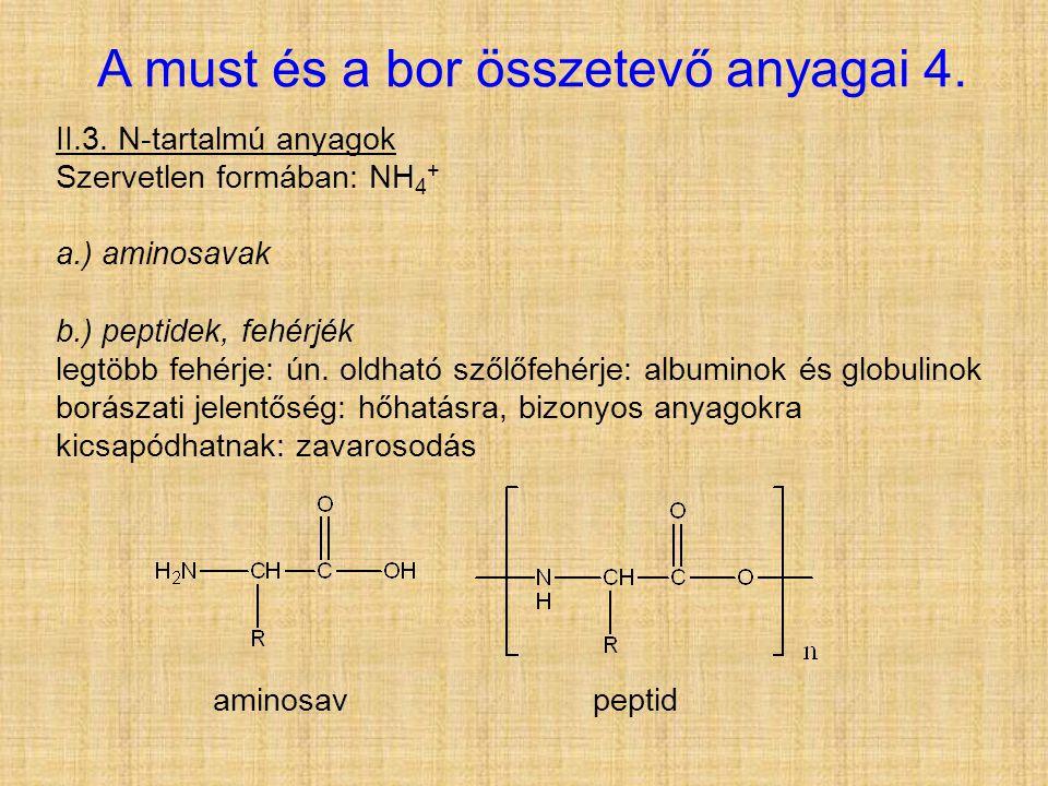 A must és a bor összetevő anyagai 4. II.3. N-tartalmú anyagok Szervetlen formában: NH 4 + a.) aminosavak b.) peptidek, fehérjék legtöbb fehérje: ún. o